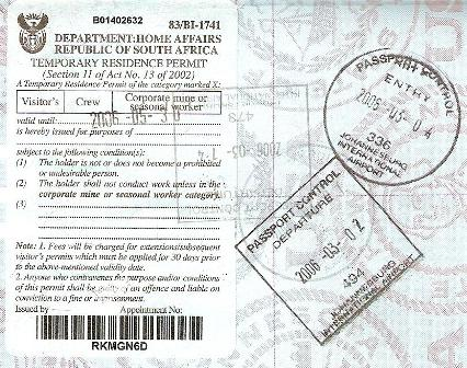 South African Visa - Johannesburg Stamp to Zambia