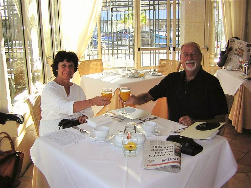 Gail and Chuck at the Royal Livingstone - Victoria Falls in Zambia!