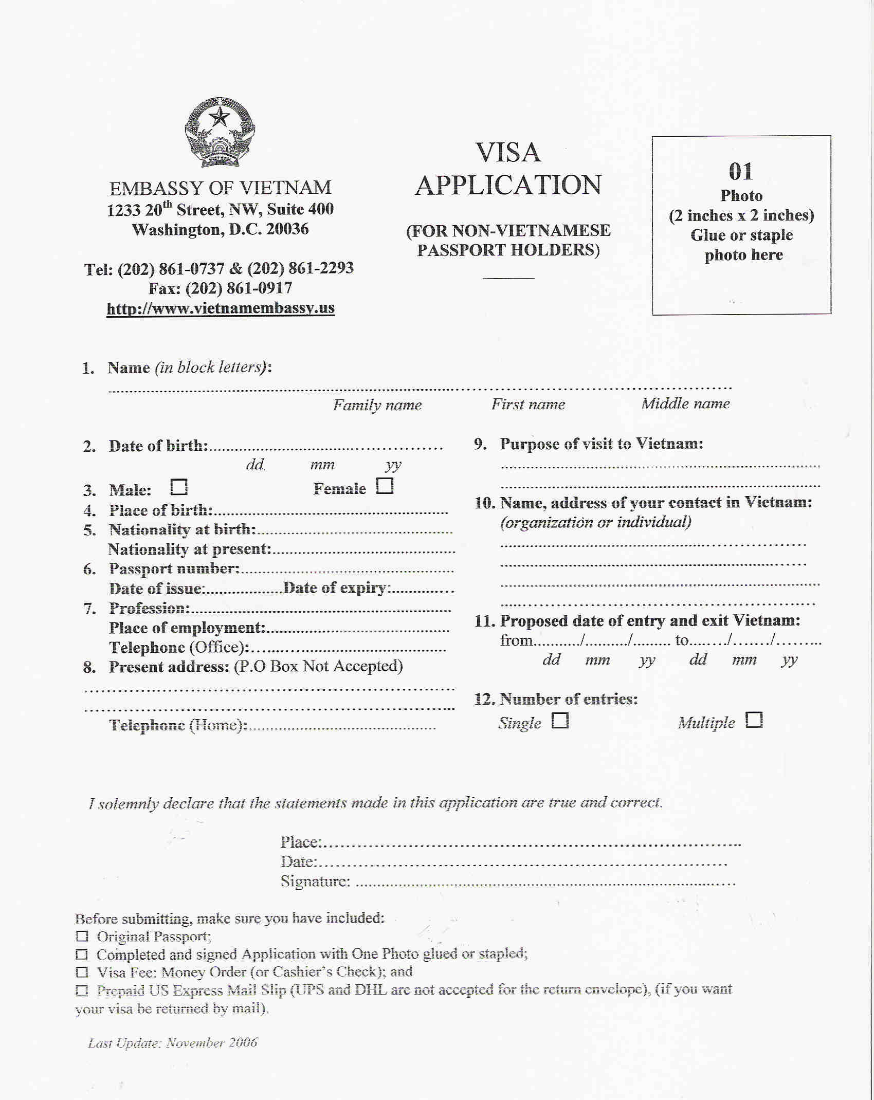 Vietnam Visa Form on